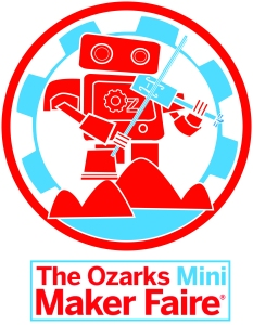 So excited about our new Ozarks Mini Maker Faire Logo!  Notice the robot's holding a fiddle with his foot on the Ozarks' mountains with a beautiful lake at the base.  We wanted to have an arts feel to our robot!! Now, LET'S GET READY TO JAM OUT OUR MINI MAKER FAIRE!!